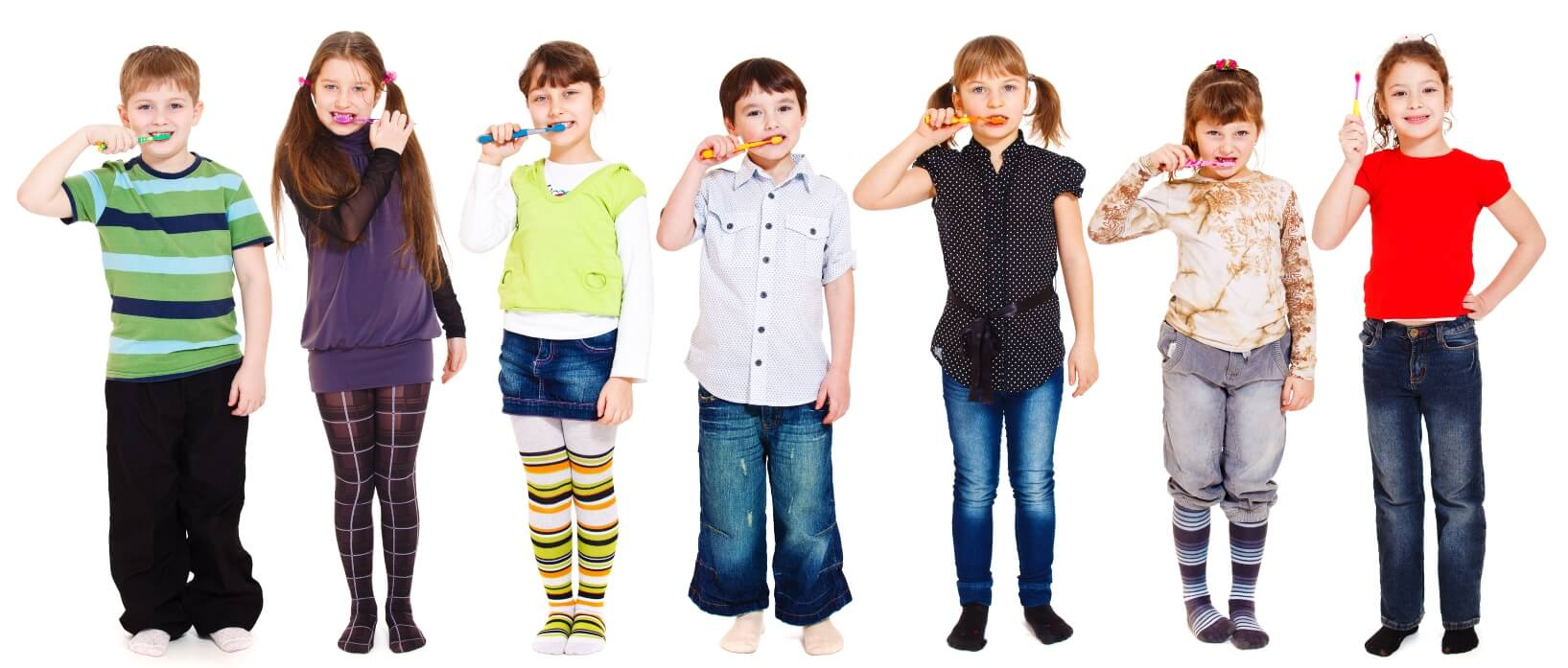 7 children with toothbrushes